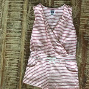 Janie & Jack Red & white striped romper